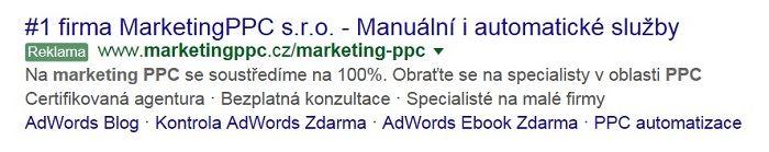 vzor PPC reklamy