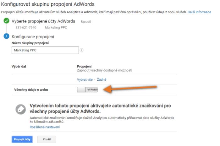 propojení adwords s analytics krok2