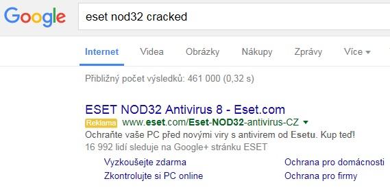 google vyhledavani eset