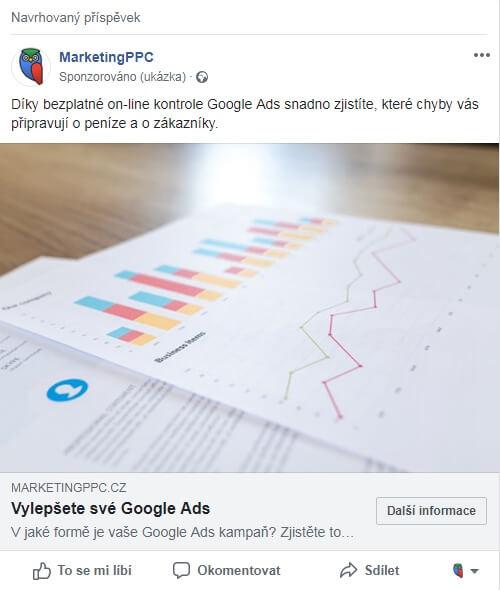 reklama ve vybraných příspěvcích na počítači