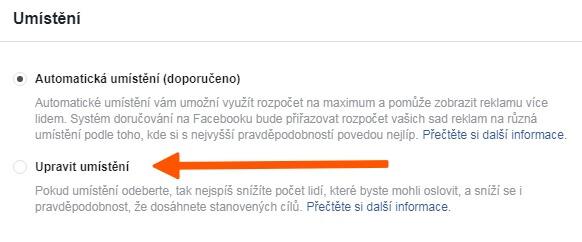 upravit facebook umístění