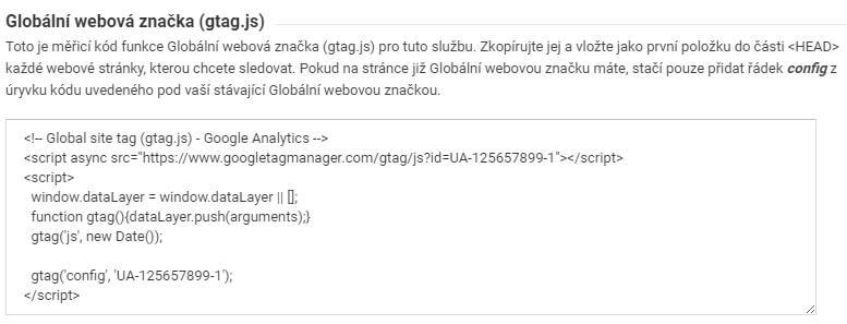 google analytics kód