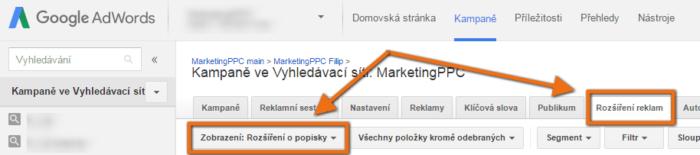 zobrazení rozšíření reklam