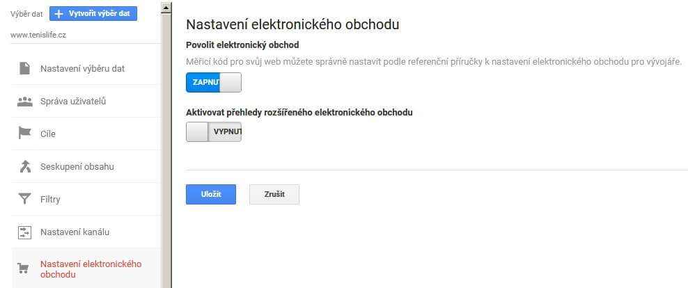 zapnutí elektronického obchodu v google analytics