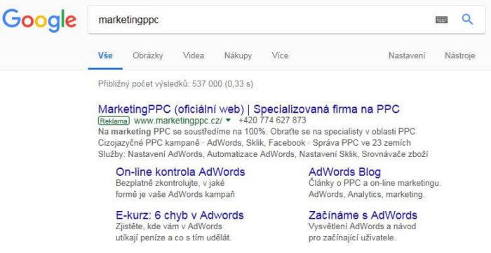 reklama ve vyhledávání