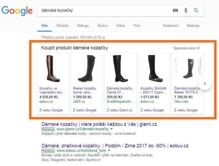 reklamy google nákupy