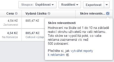 facebook skore relevantnosti