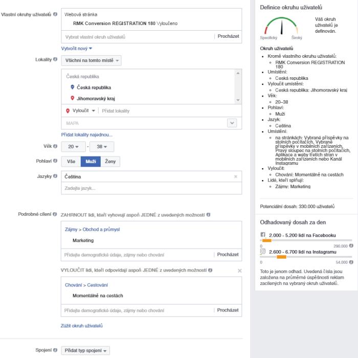 facebook reklamy cileni