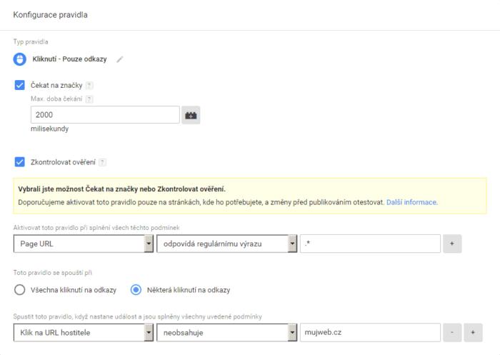 konfigurace pravidla link click
