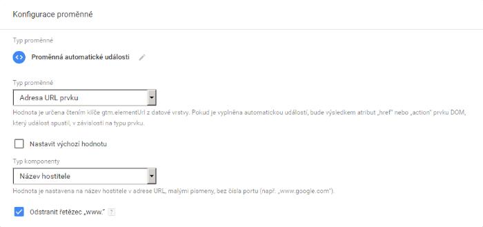 konfigurace proměnné link click