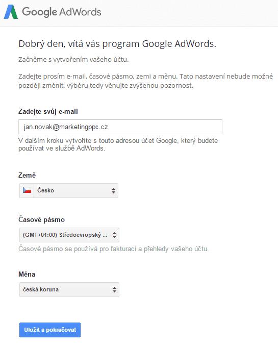 vytvoření adwords účtu