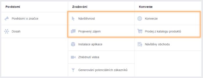 typy facebook kampaní