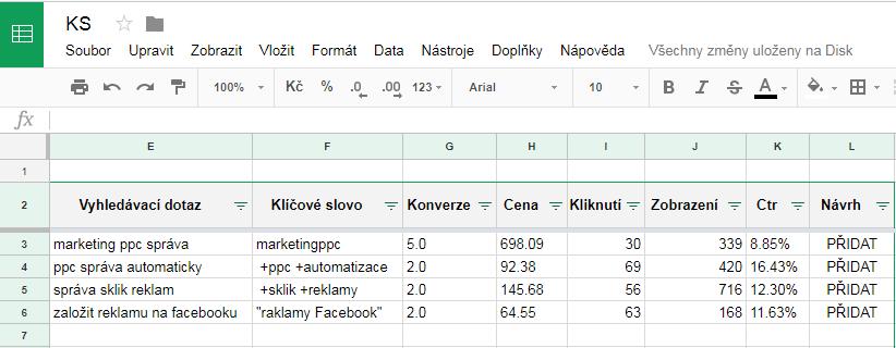Ukázka rozhraní skriptu Klíčová slova