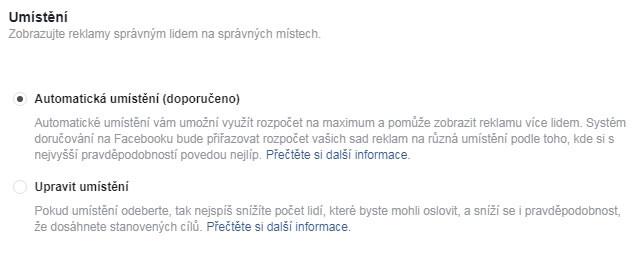 automatická umístění facebook
