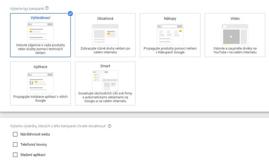 výběr typu kampaně v Google Ads