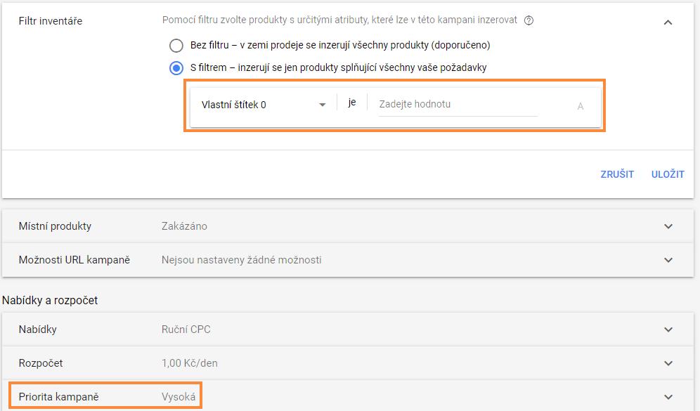 filtr a priorita v google nakupech