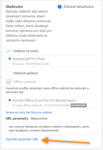 facebook vložení utm parametrů (1)