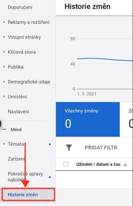 Zobrazení Historie změn v Google Ads